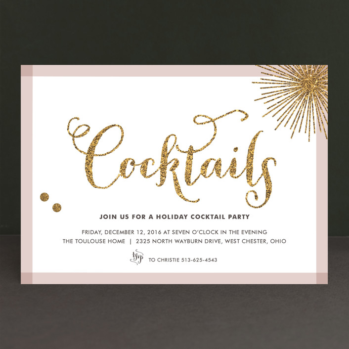 """Holiday Bling"" - Modern Holiday Party Invitations in Rose by Carrie ONeal."