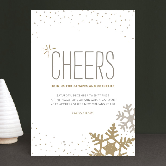 silver and gold holiday party invitations by jody wody minted