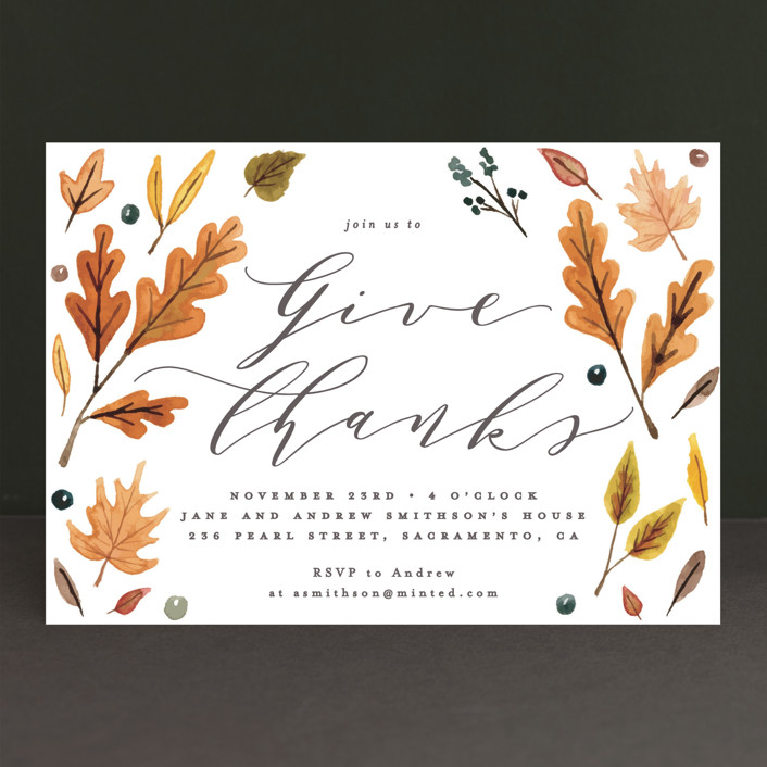 """Giving"" - Holiday Party Invitations in Harvest by Everett Paper Goods."