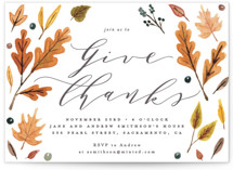 This is a yellow holiday party invitation by Everett Paper Goods called Giving printing on signature.