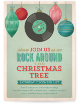 This is a green holiday party invitation by Curious and Co. Creative called A Rockin Christmas printing on signature.