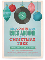 This is a blue holiday party invitation by Curious and Co. Creative called A Rockin Christmas printing on signature.