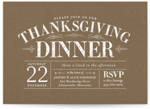 This is a brown holiday party invitation by Sarah Brown called Plymouth printing on signature.