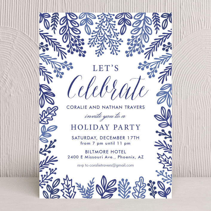 """Let's Celebrate"" - Holiday Party Invitations in Porcelain Blue by Faiths Designs."
