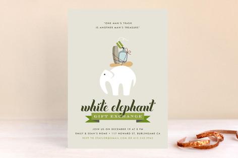 Wonderfully Wacky White Elephant Holiday Party Invitations
