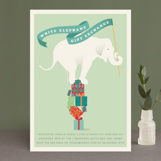 the white elephant holiday party invitationske  minted, party invitations