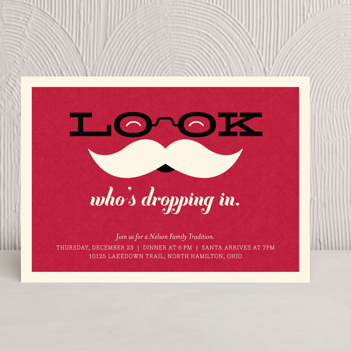 """Special Guest"" - Modern, Whimsical & Funny Holiday Party Invitations in Santa Red by Carrie ONeal."