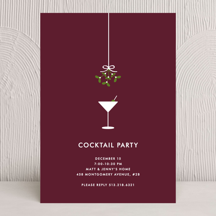 """Cocktail Party"" - Classical, Traditional Holiday Party Invitations in Merlot by Kim Dietrich Elam."