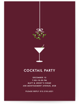 This is a red holiday party invitation by Kim Dietrich Elam called Cocktail Party printing on signature.