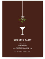 This is a brown holiday party invitation by Kim Dietrich Elam called Cocktail Party printing on signature.