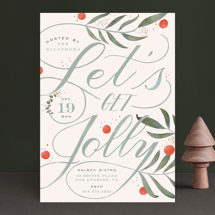 """Jolly"" - Holiday Party Invitations in Cranberry by Leah Bisch."