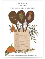 This is a white holiday party invitation by frances called thanksgiving brunch party printing on signature.