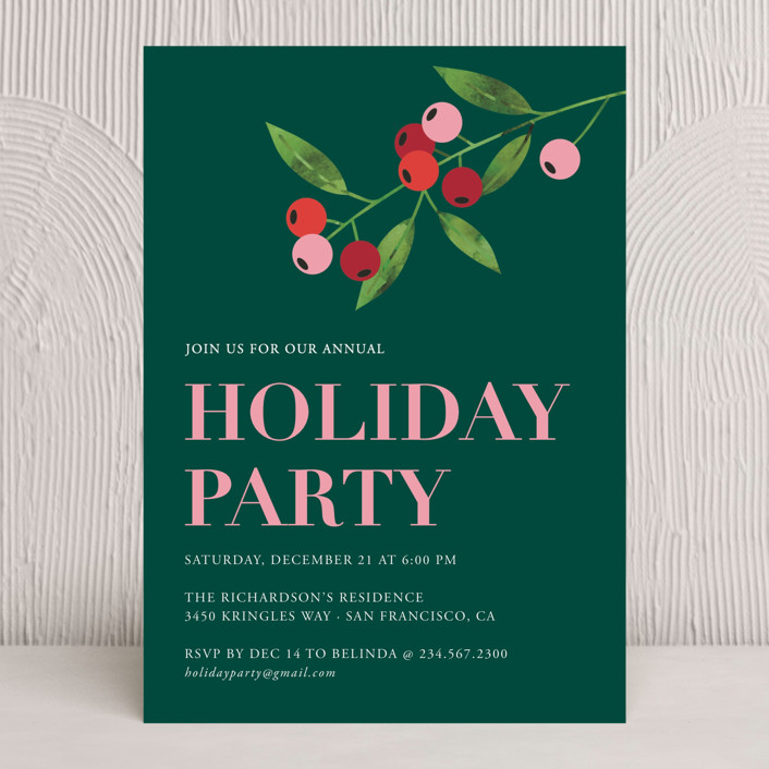 """""""Water-colour Merry Berry"""" - Holiday Party Invitations in Emerald by Nam Bourassa."""