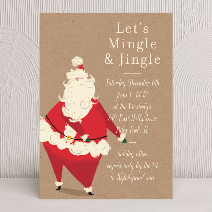 """""""Santa Flaus"""" - Holiday Party Invitations in Kraft by Baumbirdy."""