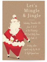 This is a brown holiday party invitation by Baumbirdy called Santa Flaus printing on signature.