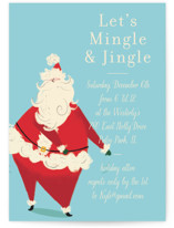 This is a blue holiday party invitation by Baumbirdy called Santa Flaus printing on signature.