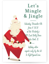 This is a green holiday party invitation by Baumbirdy called Santa Flaus printing on signature.