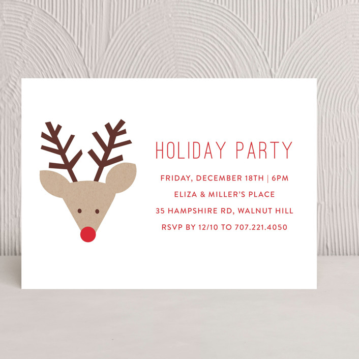 """Red Nose Party"" - Holiday Party Invitations in Snow by Michelle Poe."