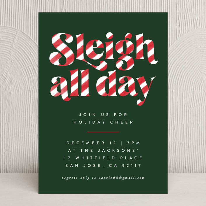 """""""Sleigh All Day"""" - Holiday Party Invitations in Candy Cane by Ally Madison."""