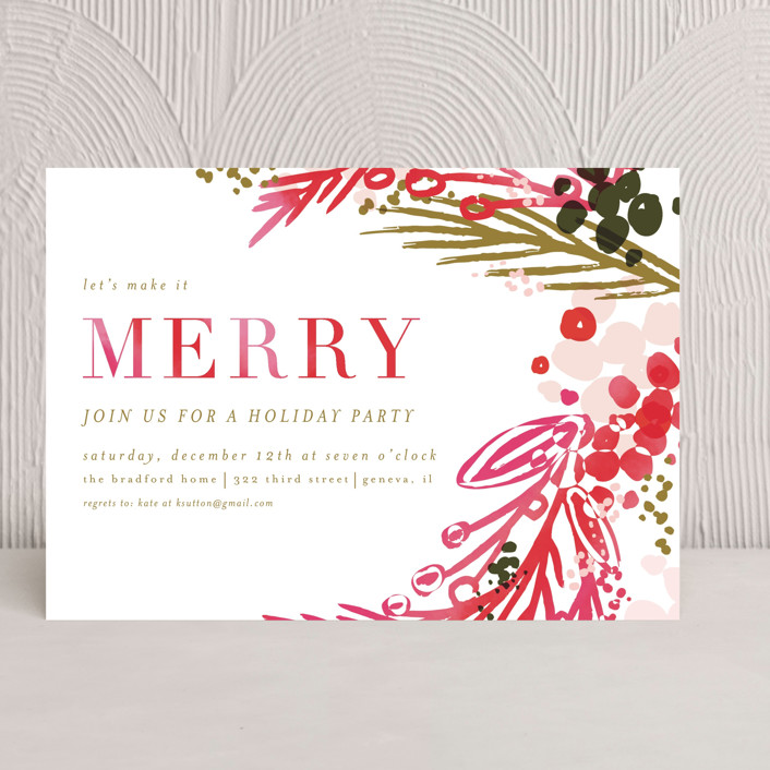 """""""merry colorwash"""" - Holiday Party Invitations in Poinsetta by Angela Marzuki."""