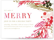 This is a colorful holiday party invitation by Angela Marzuki called merry colorwash printing on signature.