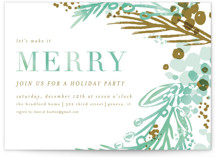 This is a brown holiday party invitation by Angela Marzuki called merry colorwash printing on signature.