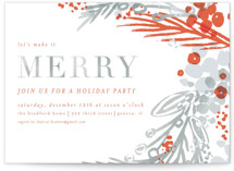 This is a grey holiday party invitation by Angela Marzuki called merry colorwash printing on signature.