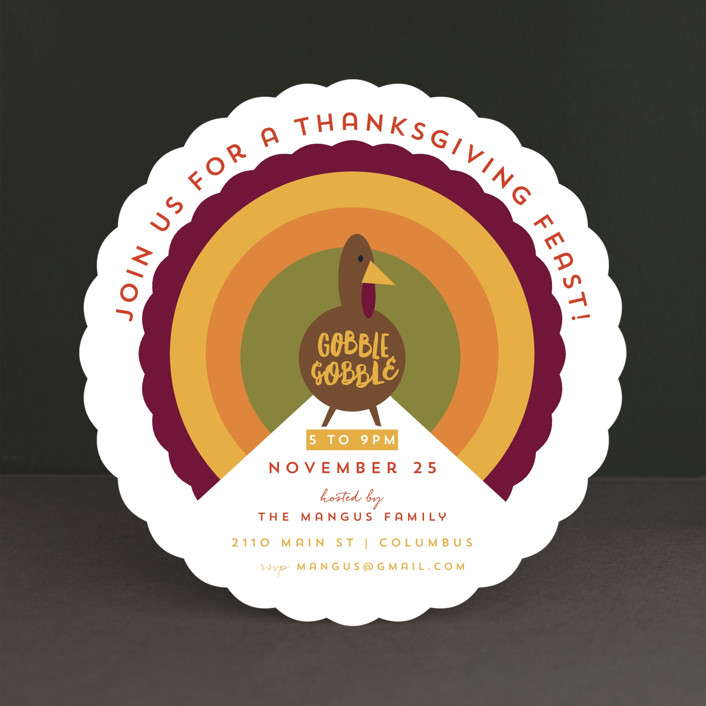 """Mod Turkey"" - Holiday Party Invitations in Cranberry Sauce by Keen Peachy."