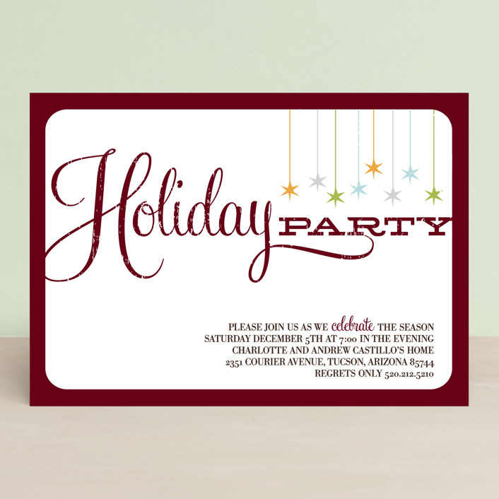 """""""Retro Party"""" - Modern, Rustic/Craft Holiday Party Invitations in Maroon by Three Kisses Studio."""