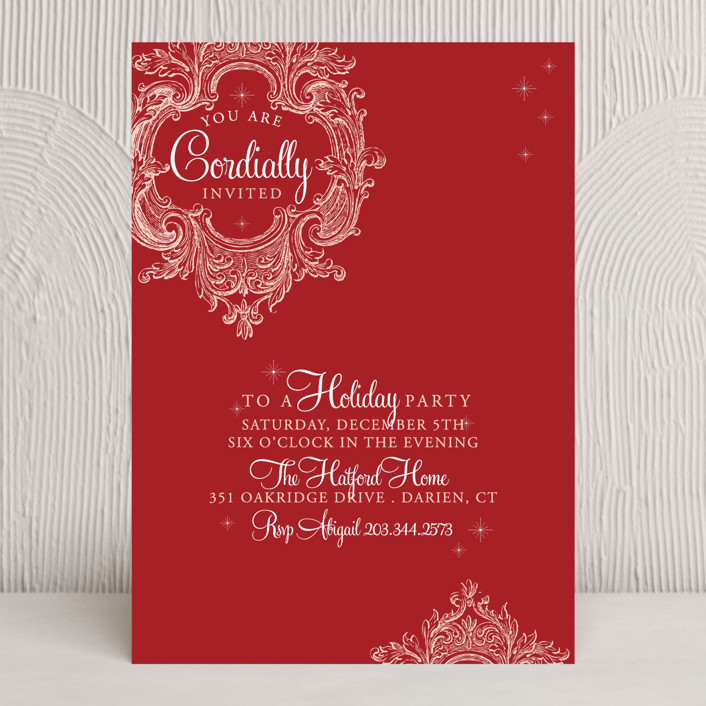 """Winter Sparkle"" - Formal, Classical Holiday Party Invitations in Ruby by SunnyJuly."