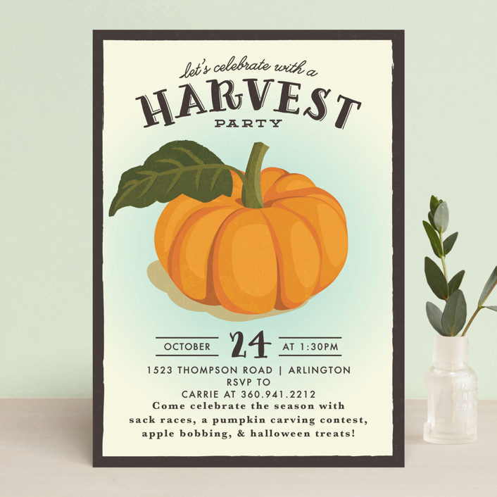 """vintage pumpkin seeds"" - Vintage Holiday Party Invitations in Pumpkin by Karidy Walker."