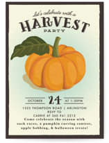 This is a orange holiday party invitation by Karidy Walker called vintage pumpkin seeds printing on signature.