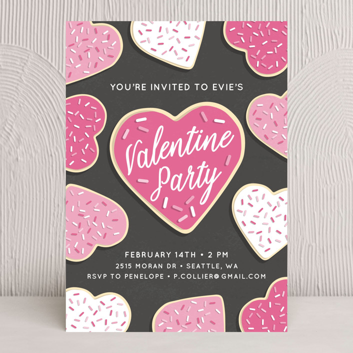"""Valentine Cookies"" - Holiday Party Invitations in Bubblegum by Megan Howe."