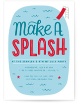 This is a blue holiday party invitation by Kay Wolfersperger called Make A splash printing on signature.