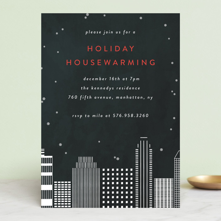 """City Housewarming"" - Holiday Party Invitations in Midnight by lulu and isabelle."