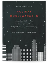 This is a black holiday party invitation by lulu and isabelle called City Housewarming printing on signature.