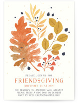 This is a orange holiday party invitation by Paper Raven Co. called Rustic Friendsgiving printing on signature.