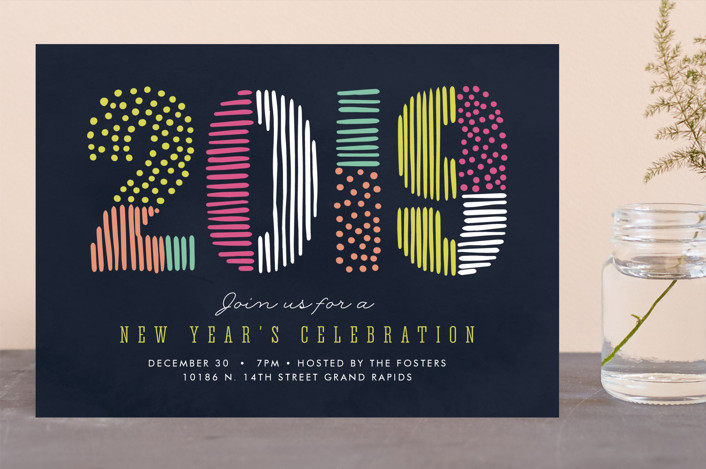 """A Bright New Year"" - Holiday Party Invitations in Midnight by Pixel and Hank."