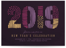 This is a purple holiday party invitation by Pixel and Hank called A Bright New Year printing on signature.