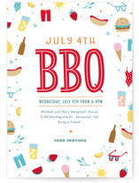 This is a colorful holiday party invitation by Kay Wolfersperger called July 4th BBQ printing on signature.