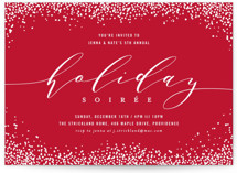 This is a red holiday party invitation by Hooray Creative called Confetti for All printing on signature.
