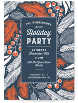 This is a blue holiday party invitation by Paper Raven Co. called Vintage Berry Holiday printing on signature.