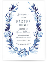 This is a blue holiday party invitation by Robin Ott called willow frame printing on signature.