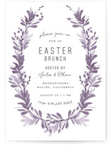 This is a purple holiday party invitation by Robin Ott called willow frame printing on signature.