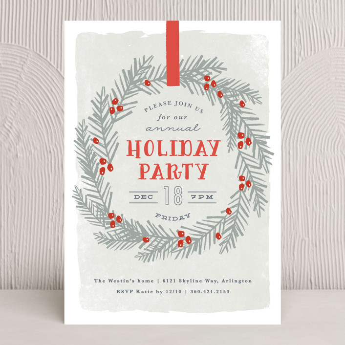 """""""festive holiday wreath"""" - Holiday Party Invitations in Crimson by Karidy Walker."""