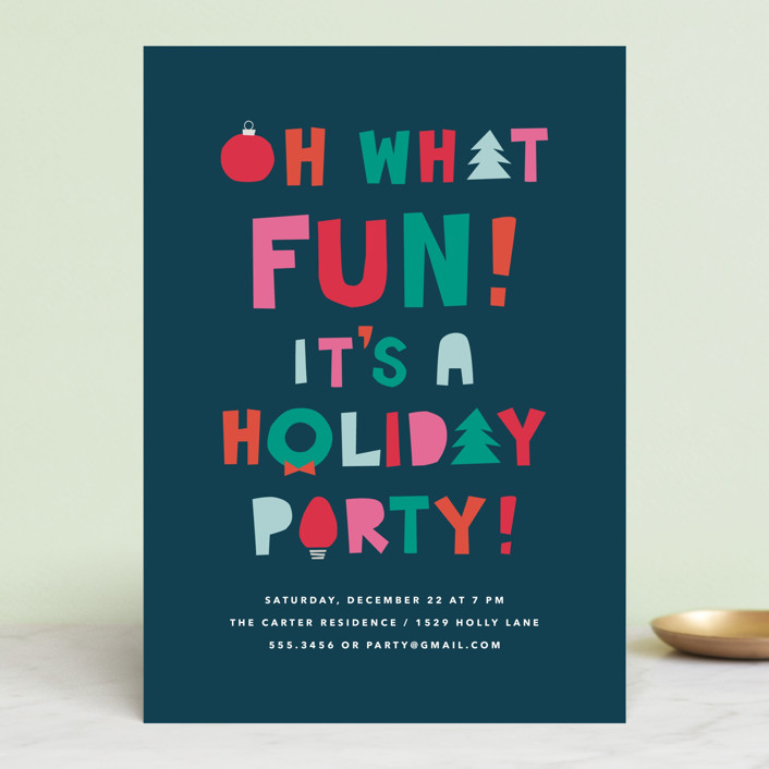 """""""oh what fun - it's a holiday party"""" - Holiday Party Invitations in Dark Midnight by Guess What Design Studio."""