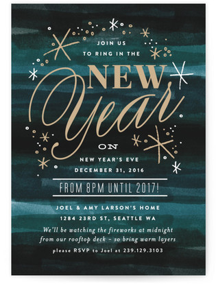 New Years At Midnight Holiday Party Invitations