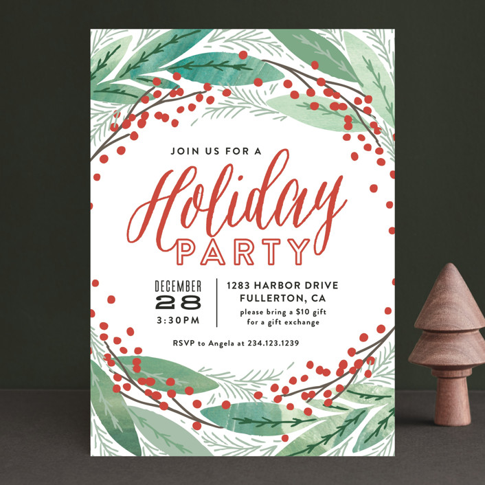 """Nordic Holiday Sprigs"" - Floral & Botanical Holiday Party Invitations in Pine by Alethea and Ruth."