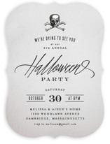 This is a grey holiday party invitation by Hooray Creative called Dying to See You printing on signature in standard.