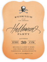This is a orange holiday party invitation by Hooray Creative called Dying to See You printing on signature.